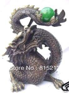 wang 000187 Collectable carved dragon green jade bronze statue