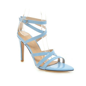 Image 2 - Summer Sandals Women Hot Solid Ankle Strap Gladiator Sandals Ladies High Heels Footwear Yellow Blue Party Wedding Shoes Big Size