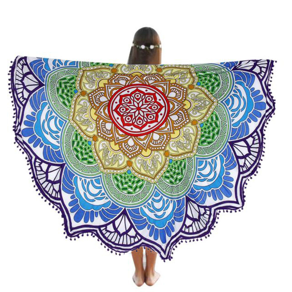 ISHOWTIENDA Round Beach Pool Home Shower Towel Blanket Table Cloth Yoga Mat New