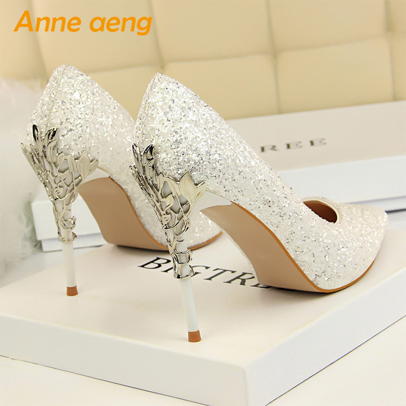 2019 New Women Pumps High Thin Heel Metal Pointed Toe Shallow Sexy Ladies Bling Bridal Wedding Women Shoes White High Heels