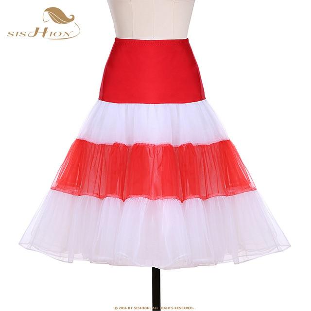 bbd7673532189d SISHION Kerst Rok Vintage Petticoat Wit Rood Groen Vrouwen Dames Tutu Tule  Rokken Organza Baljurk Party