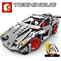 Sembo Technic Legoing Lamborghinies Venano Pull Back Famous Vehicle Super Racing Car Building Blocks Bricks Educational Toys