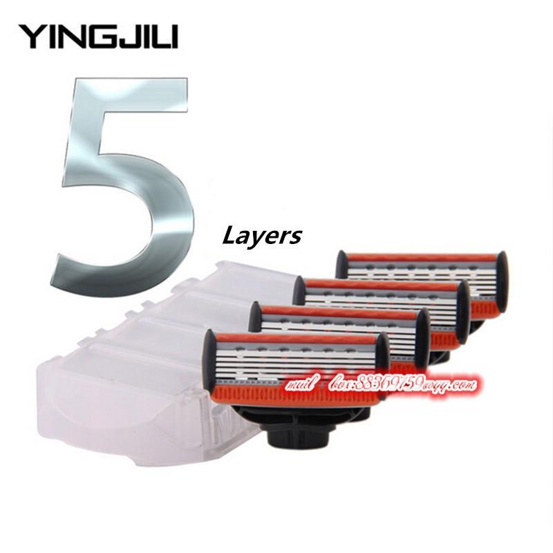 YINGJILI-4pcs-Set-Men-Razor-Blades-Shavings-5-Layers-Shaver-Blades-for-Male-Face-Shaving-Blade