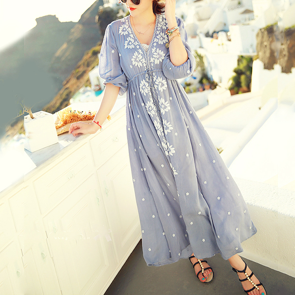 Ethnic Embroidery Bohemian Boho Hippie Dress Maxi Long Linen vintage Tunic white blue Beach women summer ladies tunique femme - Miina's Store store