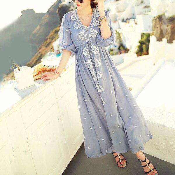 3377f51e51 Ethnic Embroidery Bohemian Boho Hippie Dress Maxi Long Linen vintage Tunic  white blue Beach women summer ladies tunique femme