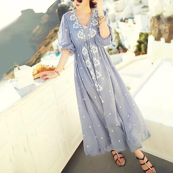Robe d/'été tunique plage robe robe hippie boho Batik 38 40 42 44 46 48 Nº 60.3