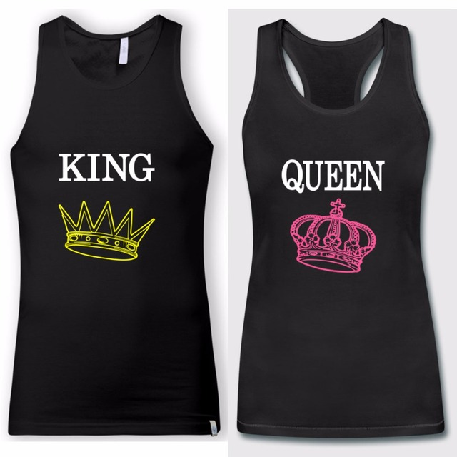 52b85438b674c 2018 New Fashion Womens Men Couple King Queen Tank Tops Black Tops  Valentine s Day Gift Shirts