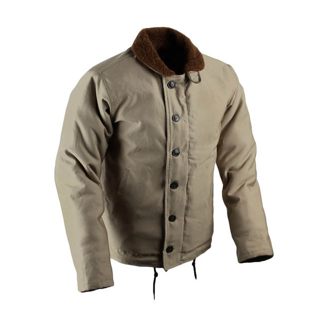 US $137.19 30% OFF|Vintage USN N 1 Deck Jacket US Navy Khaki Men's Military Jacket WW2 N1 Uniform Winter Woolen Coat Army Cotton Outwear Replica 44 in