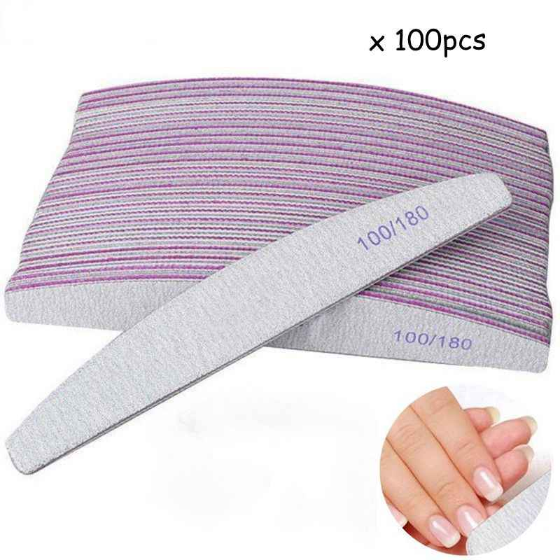 100 шт./лот пилочка для ногтей 100/180 брусок шлифовки блок педикюр Полировка маникюра