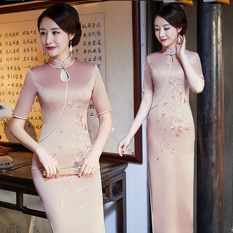 New Vintage Print Floral Traditional Chinese Women Dress Satin Sexy Ankle Length Qipao Lady Mandarin Collar