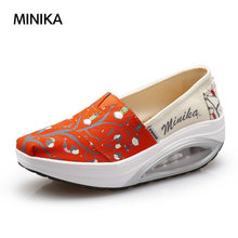 New Mujer Canvas Height Increasing 5cm Comfort Wedge Shoes For Women Lose Weight Light Sport Cushion