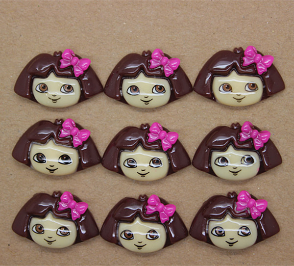 6 PC LITTLE GIRL MONKEY FLATBACK FLAT BACK RESINS SCRAPBOOKING HAIR BOW CLIP