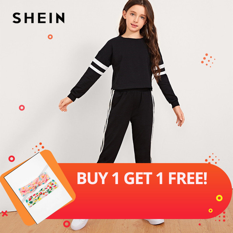 SHEIN Black Girls Striped Sleeve Pullover And Pants Two Piece Set Girls Clothing 2019 Active Wear Long Sleeve Children Clothes tracksuit girls sports suits autumn clothes long sleeve sweatshirt pants sets for girl black white clothing 9 10 12 14y