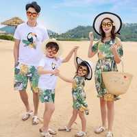 Família combinando roupas mãe filha praia vocação deixa pássaros vestidos de verão pai filho t-shirt + calças crianças roupas