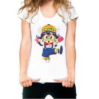 Gildan Kawaii Cute Arale Graphic Print T Shirt White Summer Style Women Slim Tshirt Harajuku Mori