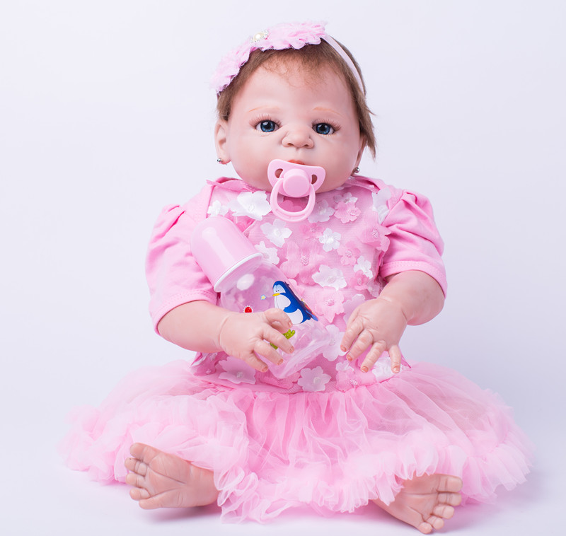 Full body silicone reborn girl baby doll toys 55c princess newborn babies child brithday gift girls brinquedos bathe shower Toy 50cm full silicone body reborn princess babies doll toys newborn baby doll lovely kids birthday gift bathe toy girls brinquedos