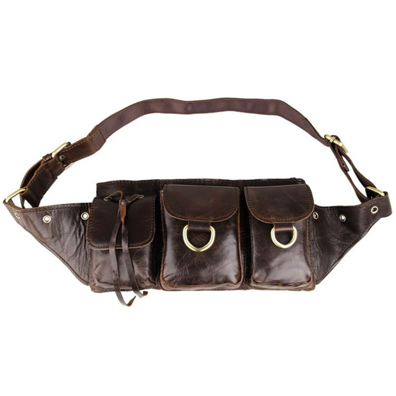 Fashion Men Genuine Leather Card Money Holder Belt Sport Bum Waist Bag Multifunction Phone Pouch Wallet Pack Camping Travel New