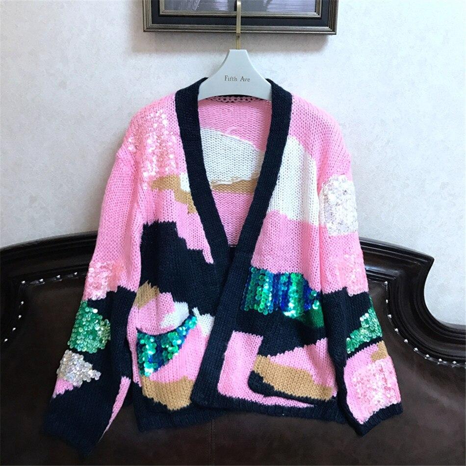 Роскошный дизайнерский брендовый весенний вязаный кардиган женский рукав «летучая мышь» цветной расшитый блестками розовый Камуфляжный свободный свитер