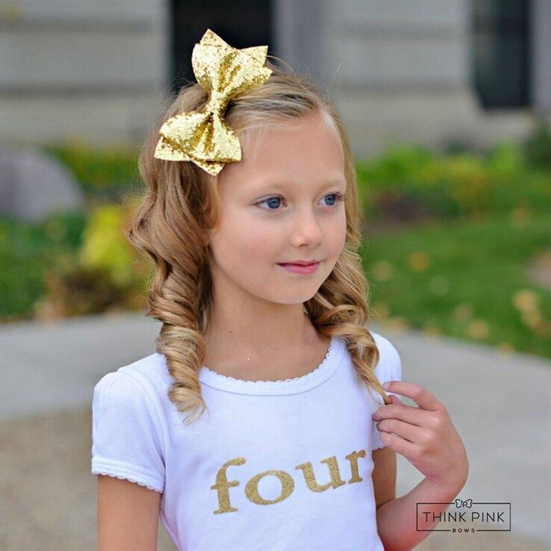 2018 New Large Gold Glitter Sequins BowKnot Hair Clips For Girls Baby Headwear Hair Accessories Glitter Felt Hair Bow
