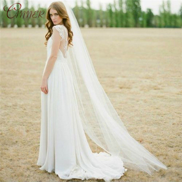 Elegant Wedding Accessories 2 Meters One Layer Wedding Veil White Ivory Long Cheap Simple Bridal Veil With Comb  Bride Veu 2019 4