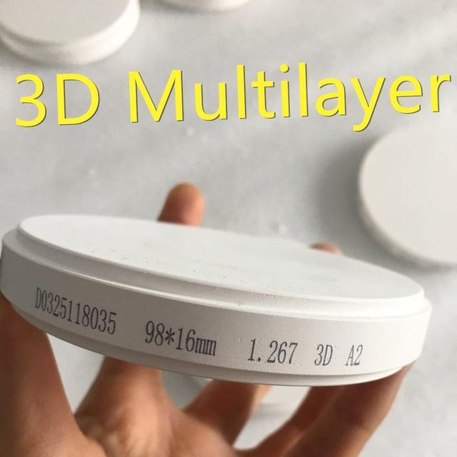 Dental Zirconia bloque 3D multicapa de Zirconia materiales para todos de las restauraciones dentales 98*10/12/ 14/16/18/20/22/25 MM