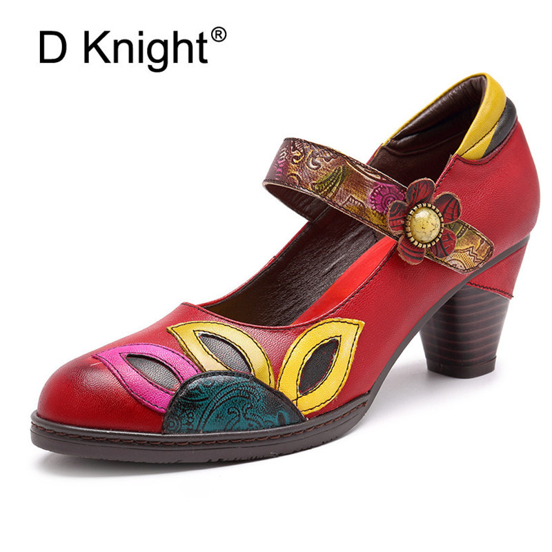 D Knight Square Heel Pumps Genuine Leather Shoes For Women Luxury Quality Heels Round Toe Bridal Wedding Shoes Russian Big Size in Women 39 s Pumps from Shoes