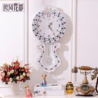 Большой Европейский пастырской гостиной настенные часы с маятником часы античный ретро модные часы кварцевые часы