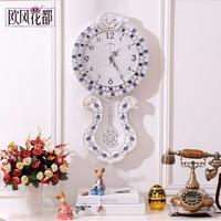 Large European pastoral living room wall clock pendulum clock antique retro fashion watch quartz clock