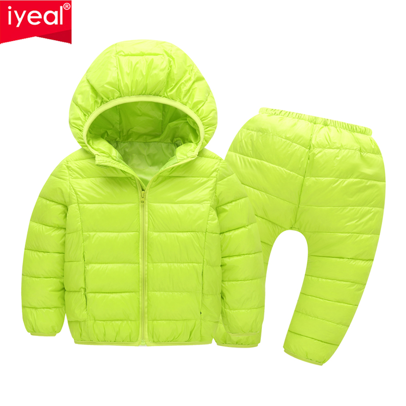 где купить IYEAL Winter Children Clothing Set Boys Girls Warm Cotton Jacket Coat+Long Pants 2pcs Baby Tracksuits Costume Kids Sport Suit по лучшей цене