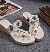 Богемия клинья тапочки 2016 женщина флип-флоп национальный стиль платформа толстые пляжные сандалии летние туфли женщины gladiadora
