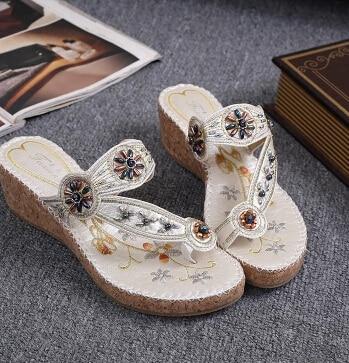 bohemia wedges  slippers 2016 female  flip-flop national style platform thick  beach sandals summer shoes women gladiadora