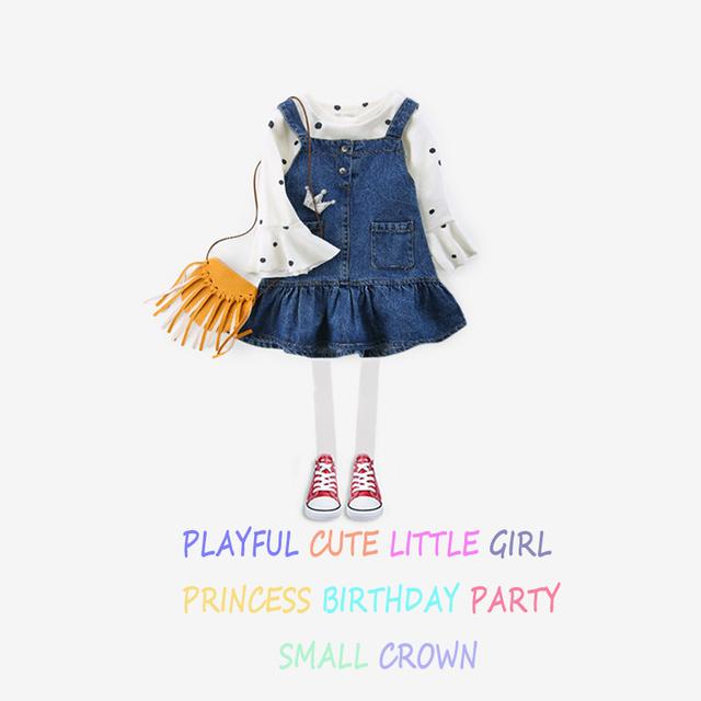Baby Girls Dress 2018 Summer Cute Kids Dresses For Girls Denim Overalls Kids Costume Blackless Denims Suspender Overalls Jeans