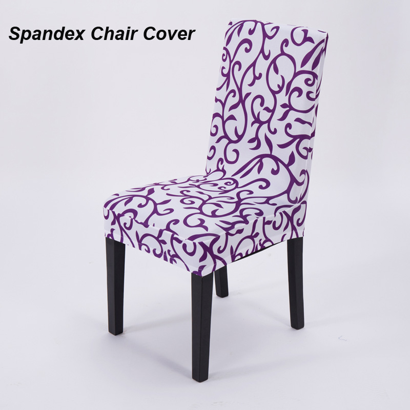 1 Piece Sure Fit Soft Stretch Spandex Pattern Chair Covers For Kitchen Short Dining