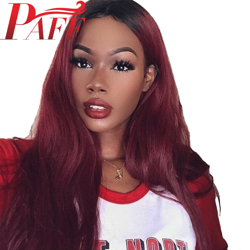 Paff 1b 99j Natural Straight Glueless Lace Front Wig