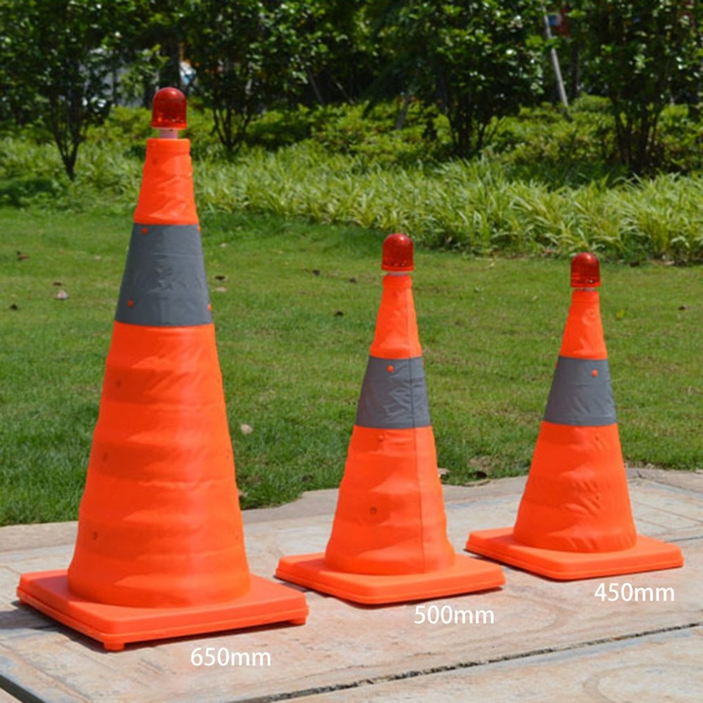 4cm5/50cm/65cm Reflective Traffic Cone NEW Folding Collapsible Orange Road Safety Cone Traffic Pop Up Parking Multi Purpose