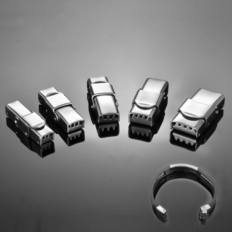 5PCs Stainless Steel Ropes Cord End Caps Buckle Silicone Bracelet Connectors Clasp DIY Jewelry Findings Accessories