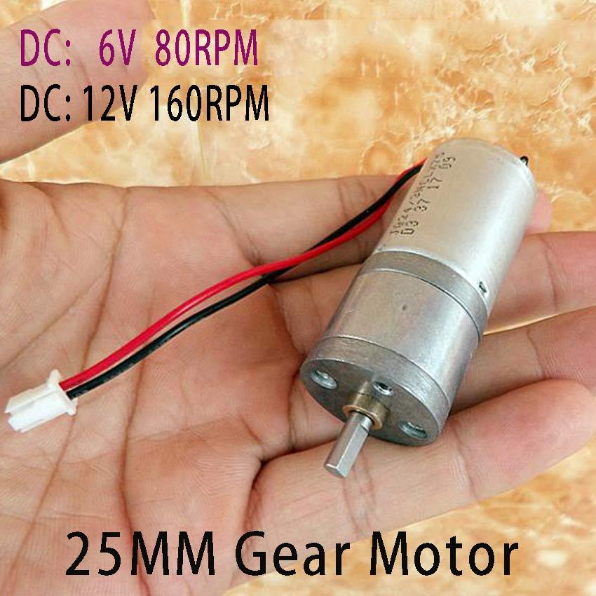 25MM DC 12V 160RPM /6V 80RPM Motor 370 dc gear motor Powerful High Torque Gear Box Motor 3V 6V 24V DC Brush Motor NO-Brushless  цены
