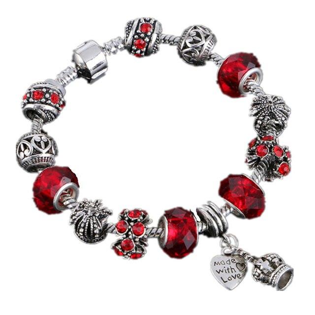 LIVVY 2016 Hot Charm bracelets and charm bracelets 925 Crown Pendant Crystal Ball Friendship Bracelet Lady Fashion Bracelet