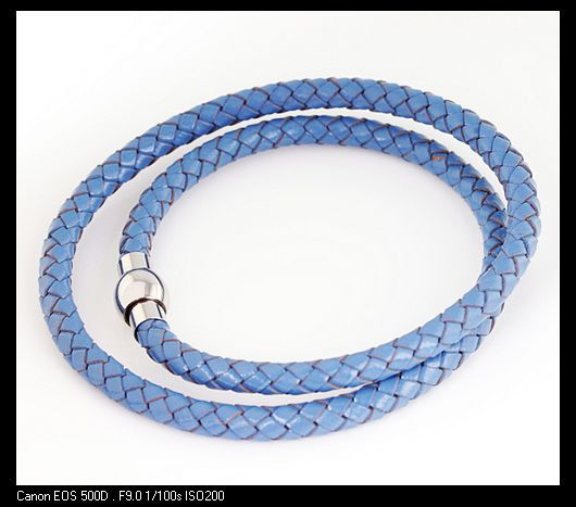 Wholesale Retail! 40cm*6mm 10g Gentle Leather & Stainless Steel Blue Neklace Chains For Men, Lowest Price Best Quality