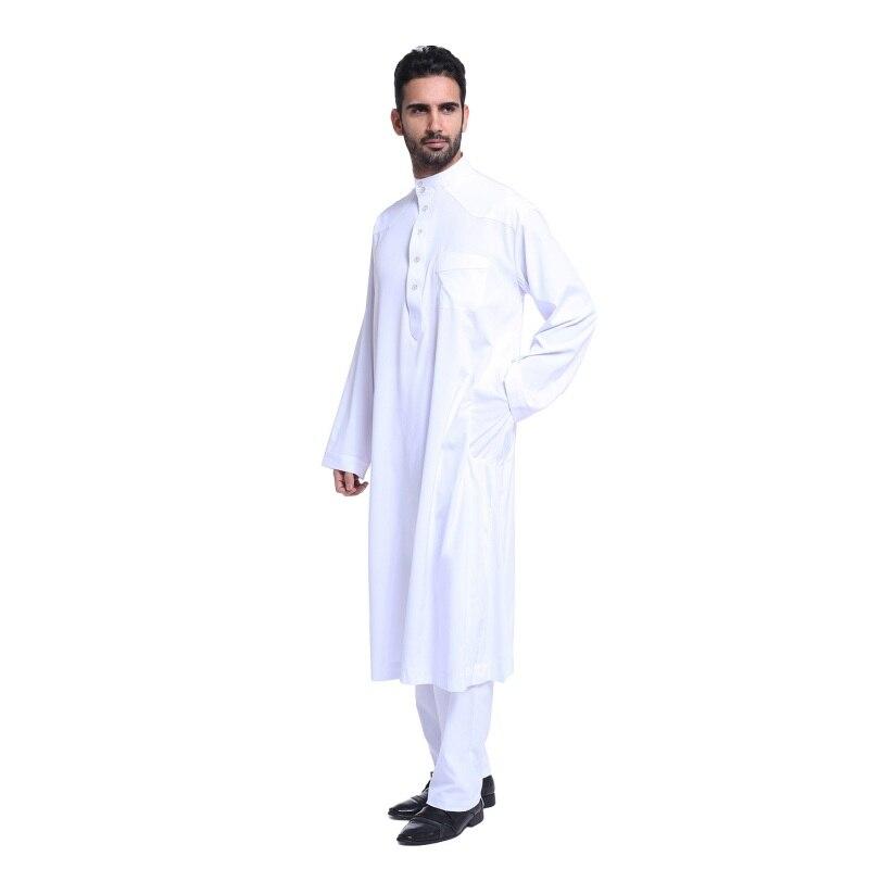2017 Nya muslimska män långärmad Thobe islamiska kläder - Nationella kläder - Foto 4