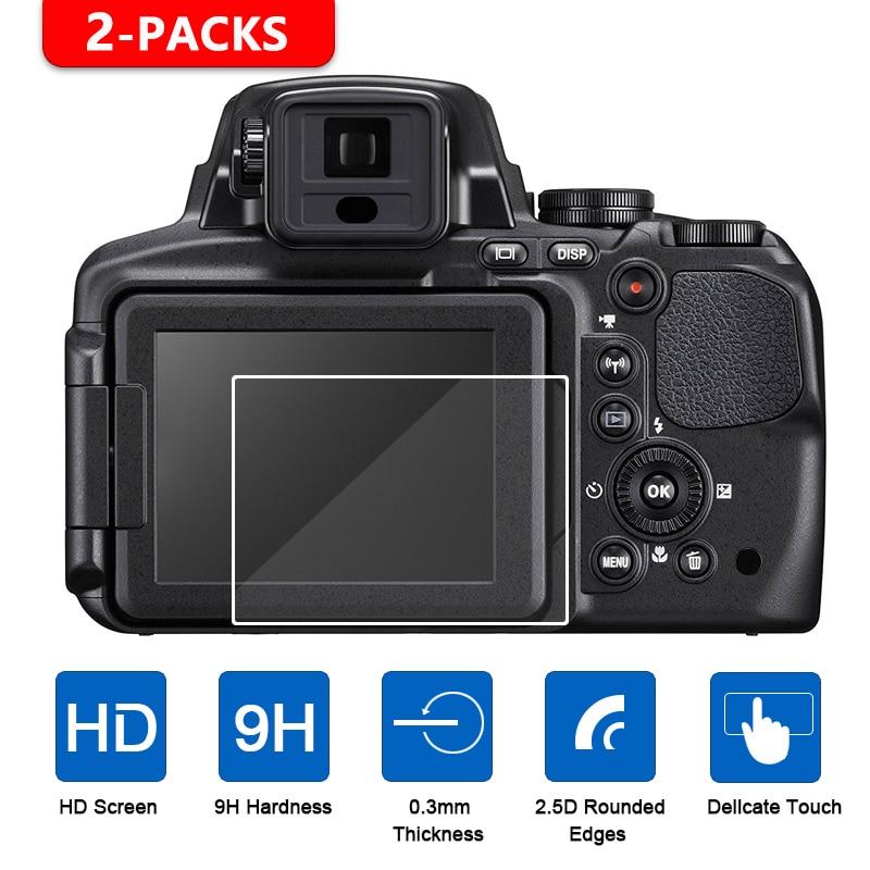 2-Pack de vidrio templado LCD Protector de Pantalla para Cámara Nikon Coolpix P1000