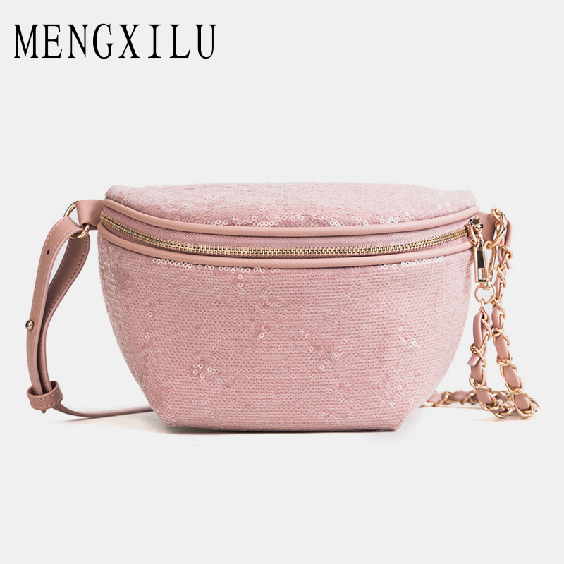 996b187c4954 MENGXILU Shine Women Waist Bag Ladies Women s Waist Bag 2018 Fashion Chains  Belt Messenger Bags Handbags