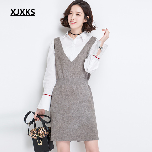 9e0abfb35866 XJXKS dress female 2018 Spring And Summer Sleeveless Solid Color Waist Slim  Cashmere Knit Sweater dresses