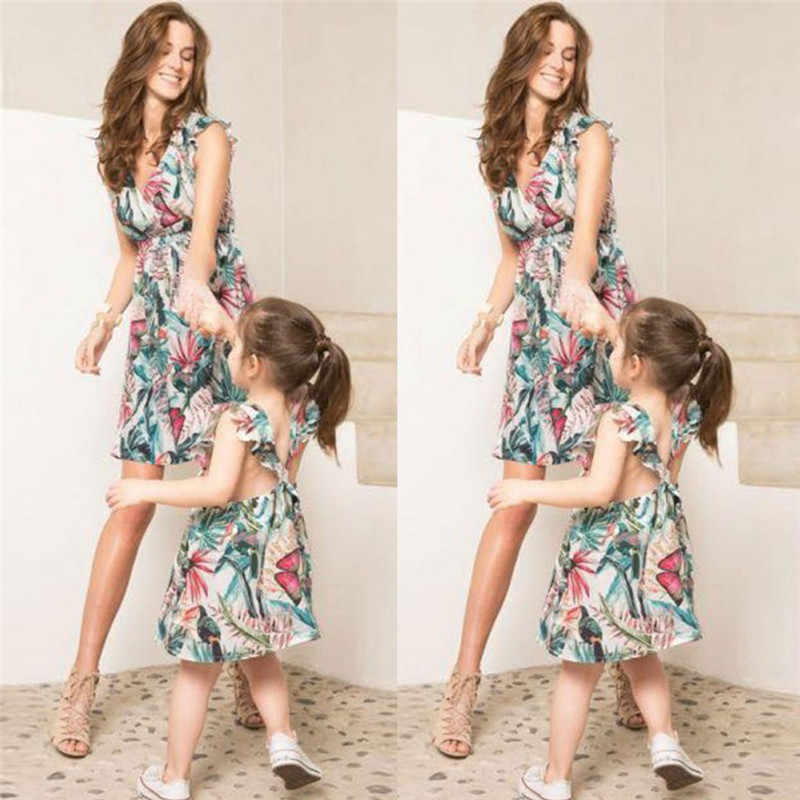 Mommy /& Kids Family Matching Dress Mother Daughter Floral Sundress for Kid Women