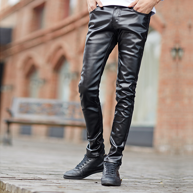 2015 pu leather stitching jeans The cowboy pencil pants Leisure jeans