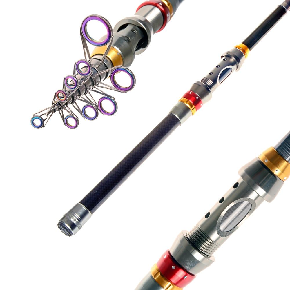 Promo akce! Hot Prodej vysoce kvalitních teleskopických rybářských prutů 1,8m 3m3.6m sekce Uhlíkové tyče Mořské tyče Ruční tyč Outdoorové sporty