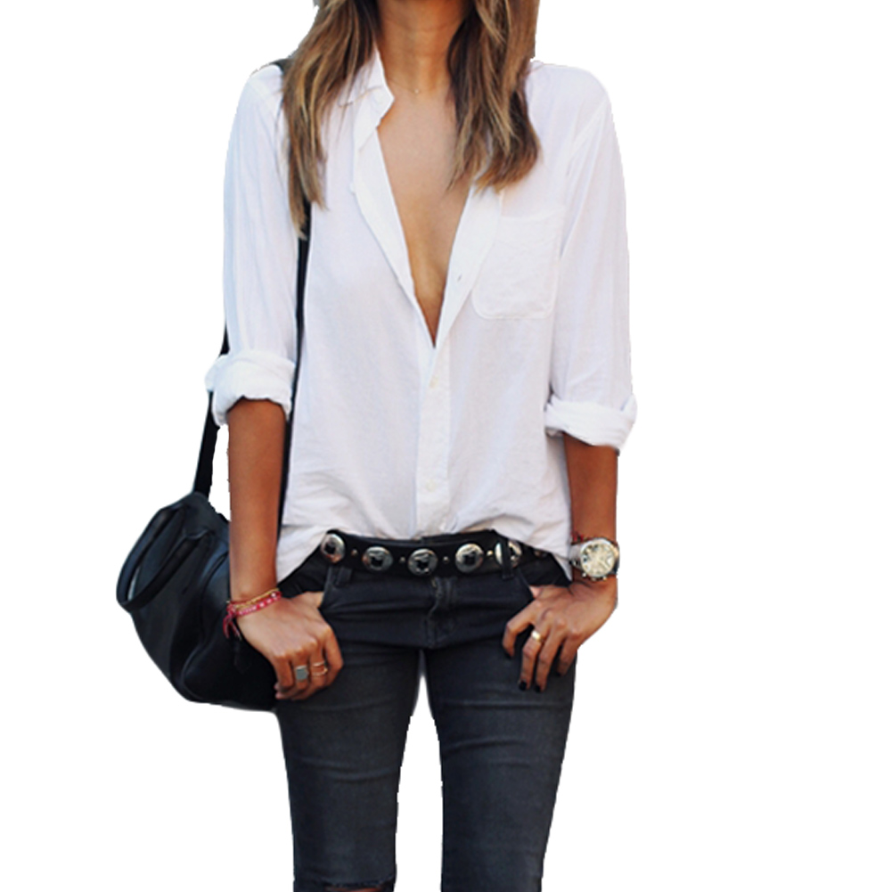 Fashion long sleeve woman blouse white shirt ladies pocket for White shirt for ladies