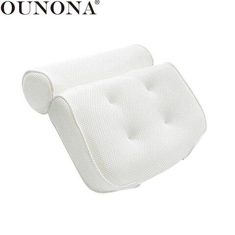 Travesseiro com Seis Ounona Malha Banho Travesseiro Antiderrapante Banheira Macio Pescoço Almofada Ventosas 3d Spa