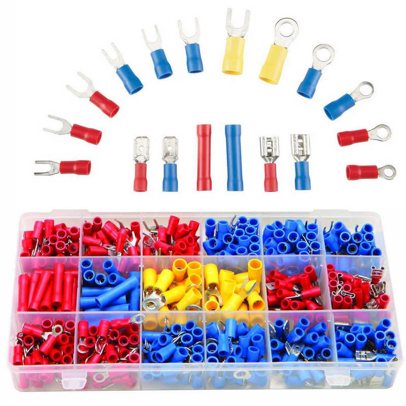 300pcs New Assorted Insulated Connector Electrical Wiring Crimp Terminal Connectors Kit 3 Colors Assorted Terminales Set 10sets kit bleed valve connector natural gas connector 13602619 1j0 973 702 waterproof auto 2pin connectors
