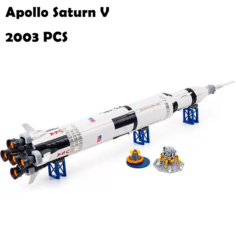 37003 Apollo Saturn V Launch Vehicle Model Building Blocks toys Creative compatible with lego 21309 Educational toys hobbies the new hot promotions 1 30 military vehicles dongfeng 11a missile launch vehicle model alloy office decoration